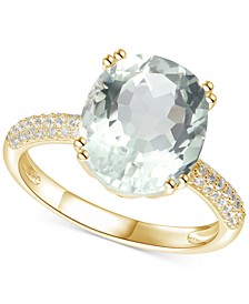 Blue Topaz (5-1/3 ct. t.w.) & Diamond (1/4 ct. t.w.) Ring in 14k Gold (Also in Green Quartz)