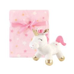 Luvable Friends Baby Girl Plush Blanket and Toy