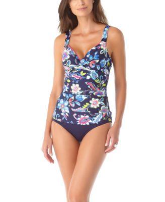 Tropical V-neck Draped Crossover Shelf bra Tankini /& briefs Animal Floral 10