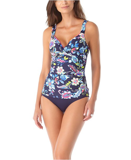 Anne Cole Twisted Tankini Top & High-Waist Bottoms