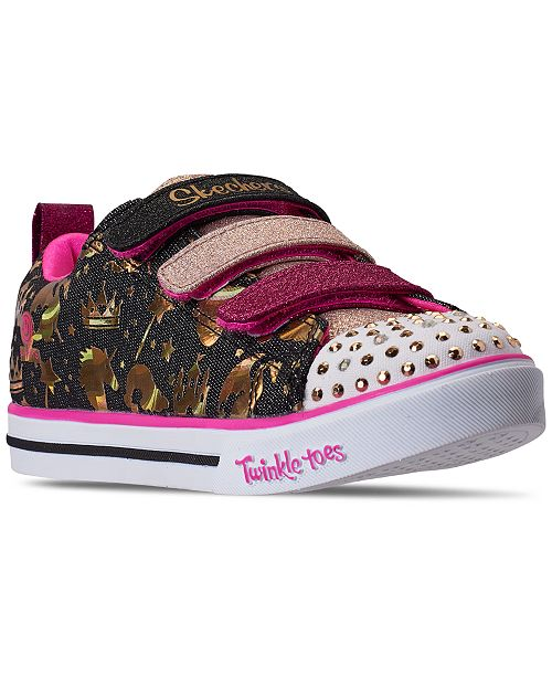 Skechers Little Girls Twinkle Toes Sparkleland Stay-Put Closure Light-Up Casual Sneakers from Finish Line