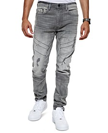 Men's Raven Athletic Tapered-Fit Stretch Destroyed Moto Jeans