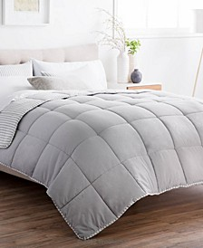 Striped Reversible Chambray Comforter Set, Oversized King