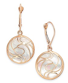 Mother-of-Pearl Swirl Drop Earrings in 14k Gold