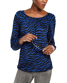 Animal-Print Peasant Top, Regular & Petite Sizes