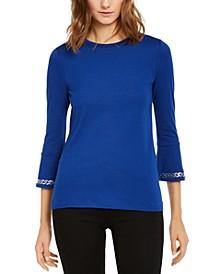 Embellished 3/4-Sleeve Top