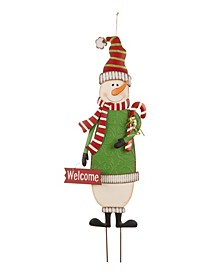 Metal Snowman Yard Stake Or Standing Decor Or Wall Decor KD, Three Function