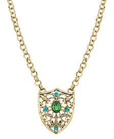Gold-Tone Crystal Shield Pendant Necklace