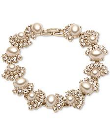 Gold-Tone Pavé & Imitation Pearl Flex Bracelet