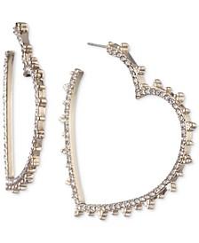 "Gold-Tone Medium Pavé Heart Hoop Earrings, 1.57"""