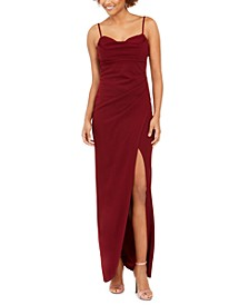 Juniors' Ruched Faux-Wrap Slip Dress