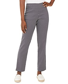 Petite Oval-Print Jacquard Pants, Created For Macy's