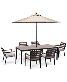 "Stockholm Outdoor Aluminum 7-Pc. Dining Set (84"" x 42"" Rectangle Dining Table & 6 Dining Chairs) with Sunbrella® Cushions, Created For Macy's"