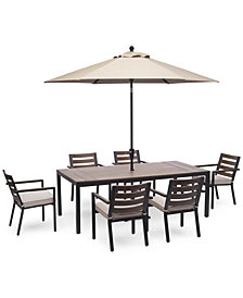 """Stockholm Outdoor Aluminum 7-Pc. Dining Set (84"""" x 42"""" Rectangle Dining Table & 6 Dining Chairs) with Sunbrella® Cushions, Created for Macy's"""