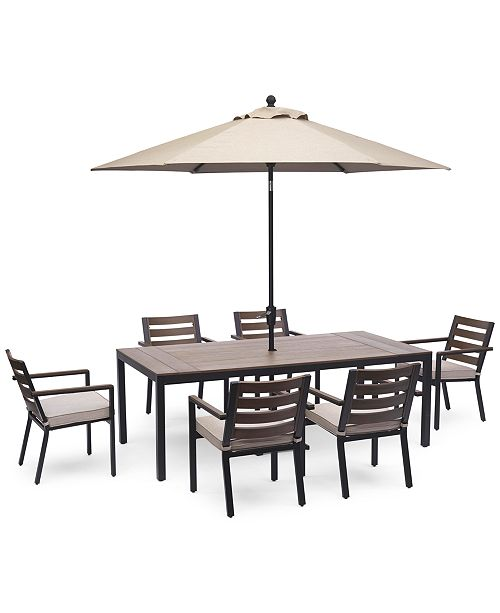 """Furniture Stockholm Outdoor Aluminum 7-Pc. Dining Set (84"""" x 42"""" Rectangle Dining Table & 6 Dining Chairs) with Sunbrella® Cushions, Created for Macy's"""