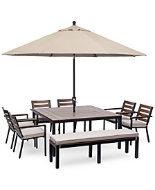 "Stockholm Outdoor Aluminum 8-Pc. Dining Set (61"" Square Dining Table, 6 Dining Chairs & Bench) with Sunbrella® Cushions, Created for Macy's"