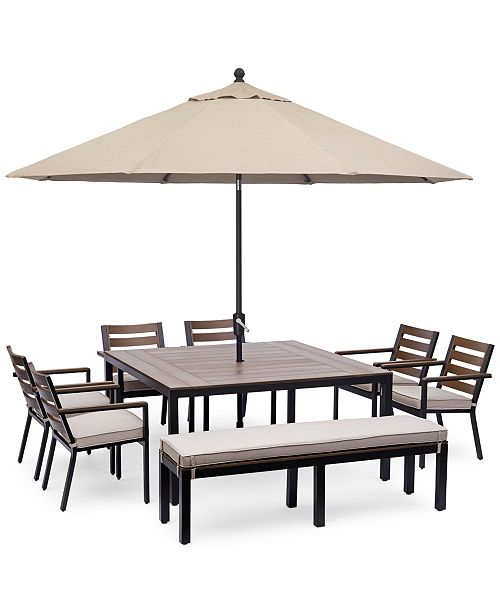 Furniture Stockholm Outdoor Aluminum 8 Pc Dining Set 61 Square Dining Table 6 Dining Chairs Bench With Sunbrella Cushions Created For Macy S Reviews Furniture Macy S