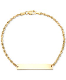 ID Plate Rope Chain Bracelet in 10k Gold