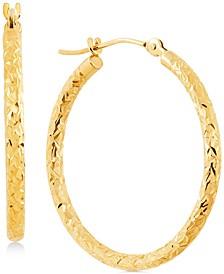 Small Textured Round Hoop Earrings in 10k Gold