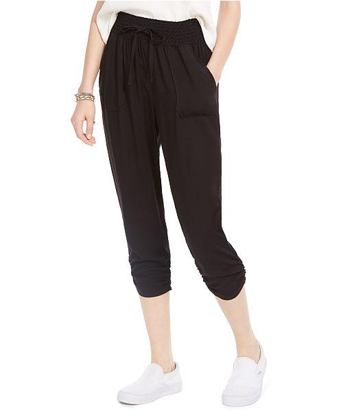 Rewash Juniors' Ruched Cropped Soft Pants