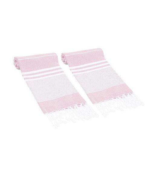 Olive and Linen Essential Multi Stripe Turkish Hand/Kitchen Towel Set of 2