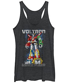 Voltron Retro Defender Space Distressed Tri-Blend Racer Back Tank