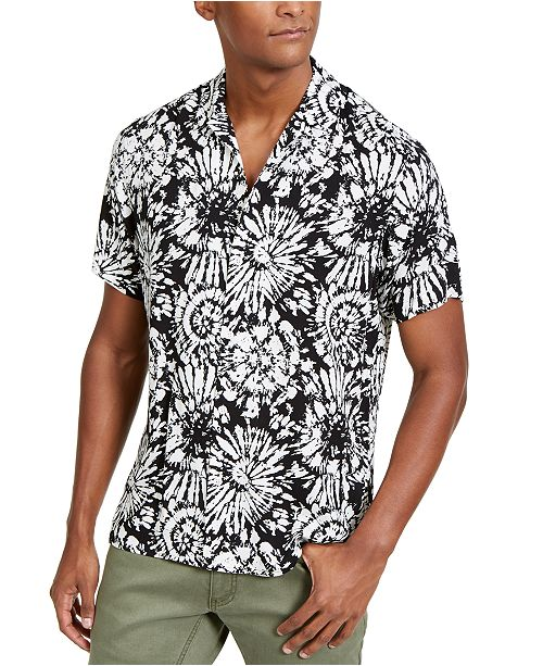 INC International Concepts INC Men's Tie Dye Short Sleeve Shirt, Created For Macy's