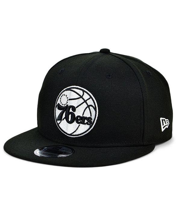 New Era Philadelphia 76ers Black White 9FIFTY Snapback Cap