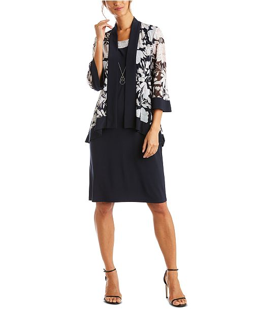 R & M Richards Petite Dress & Mesh Floral Jacket