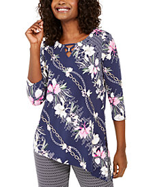 JM Collection Asymmetrical Printed Top, Created for Macy's
