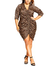 Trendy Plus Size Animal Sense Dress