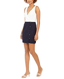 Juniors' Two-Tone Button-Skirt Dress