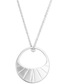 """Silver-Tone Etched Pendant Necklace, 30"""" + 2"""" extender"""