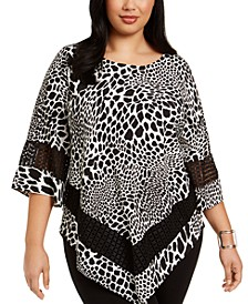 Plus Size Printed Crochet-Trim Top, Created for Macy's