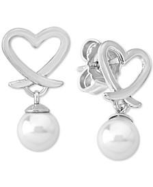 Imitation Pearl (6mm) Heart Drop Earrings in Sterling Silver