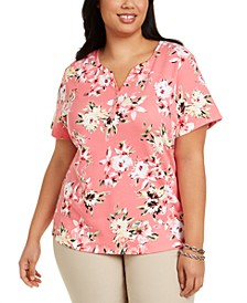 Plus Size Floral-Print Henley Top, Created for Macy's