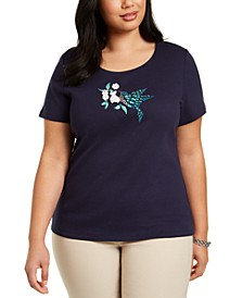 Plus Size Cotton Hummingbird Top, Created for Macy's