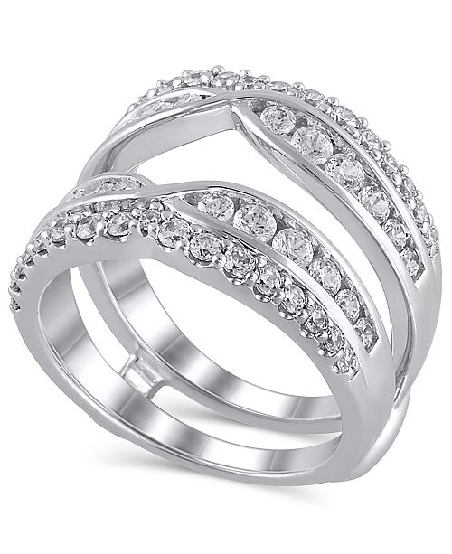 Macy's Certified Diamond (1-3/8 ct. t.w.) Guard Ring in 14K White Gold