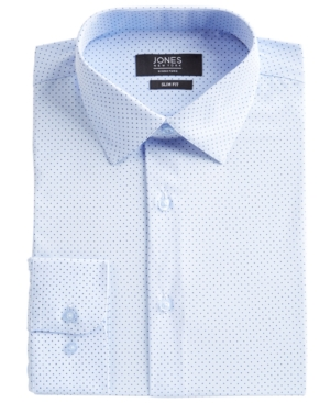 Men's Slim-Fit Performance 4-Way Stretch Tech Light Blue/Navy Dot-Print Dress Shirt