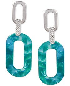 Silver-Tone Pavé & Decorated Resin Link Drop Earrings