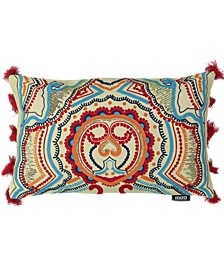 "Tribal Chic Collection Indian Embroidery Lumbar Pillow, 14"" X 22"""
