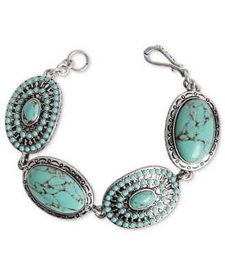 Lucky brand bracelet silver tone turquoise stone flex for Macy s lucky brand jewelry