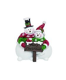 Resin White Christmas Merry Snowman