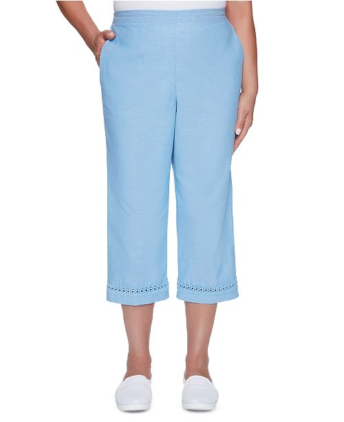 Alfred Dunner Garden Party Crochet-Hem Pull-On Capri Pants