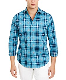 Men's Stretch Box Plaid Shirt, Created for Macy's