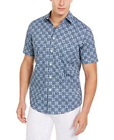 Men's Stretch Geometric Tile-Print Shirt, Created for Macy's