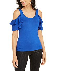 Cold-Shoulder Tiered-Sleeve Top, Created For Macy's