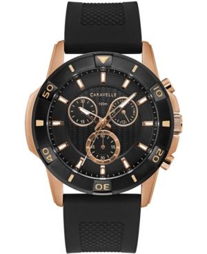 Men's Chronograph Black Silicone Strap Watch 48mm