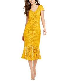 Lace Flounce-Hem Dress, Created For Macy's