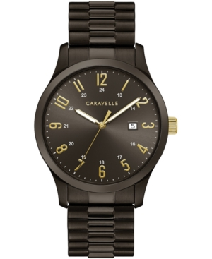 Men's Dark Gray Stainless Steel Expansion Bracelet Watch 40mm